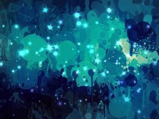 Blue bright sparkle brush strokes background.