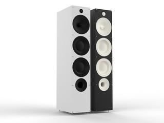 Black and white hifi speakers