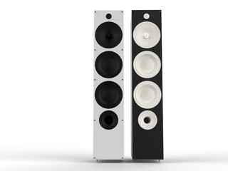 Black and white hi-fi speakers - front view