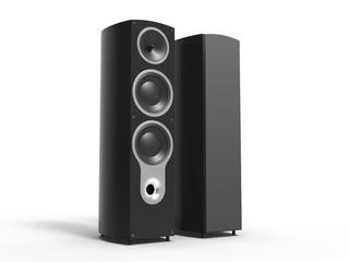 Glossy black speakers