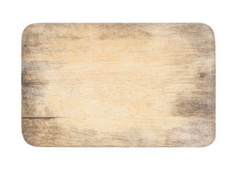 wooden chopping board with scratched surface on isolated background with clipping path Wall mural