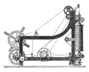 Making machine rope yarn, called a swing bridge, vintage engravi
