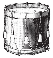 Snare drum strings, vintage engraving.