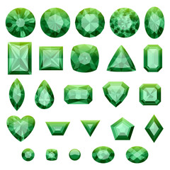 Set of realistic green jewels. Green emeralds.