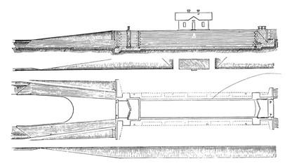 Cutting and longitudinal plane of a lock to lock, vintage engrav