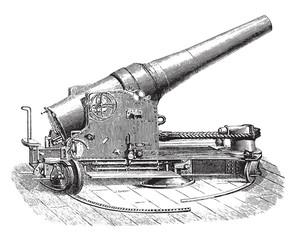 Chassis tuned half-turret gun 27 degree, vintage engraving.