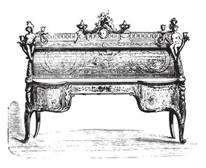 Office cylinder inlaid Louis XV (Louvre), vintage engraving.