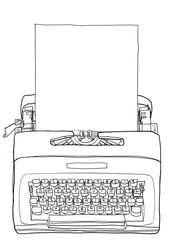 Yellow Typewriter  Vintage Portable Manual typewriter  with blan