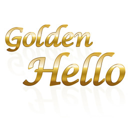 Golden hello - business term. Isolated vector illustration on white background.