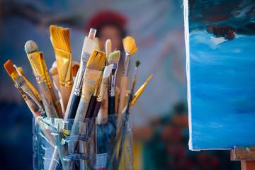Interior of a painter workshop