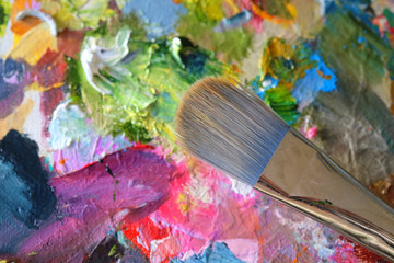 The image of a close up paintinr's palette