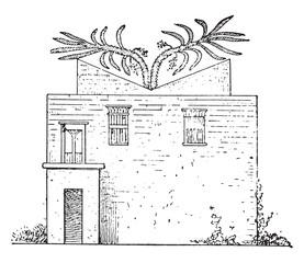 House, vintage engraving.