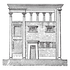 Egyptian house, vintage engraving.