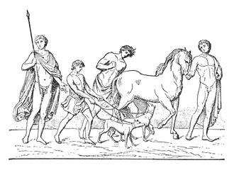 Departure of Adonis, vintage engraving.