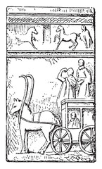 Gallo-Roman Chariot, vintage engraving.