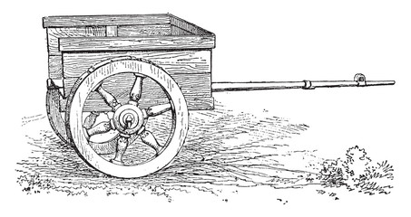 Gallic Chariot, vintage engraving.