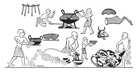 Egyptian cooks, vintage engraving.
