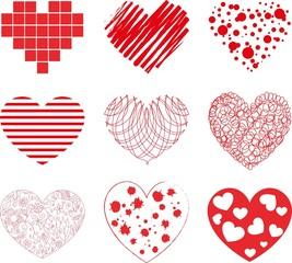 Vector hand drawn hearts set