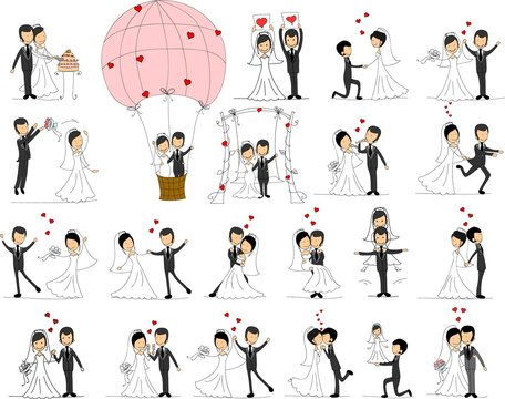 Set of wedding pictures, bride and groom in love, the vector