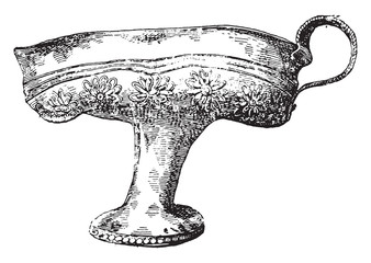 Golden cup of Greek labor, vintage engraving.