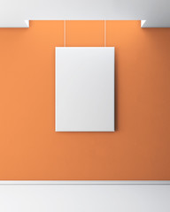 Blank picture on a orange wall. 3d.