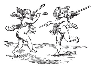 Genies dancers, vintage engraving.