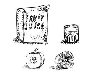 box with a glass of juice and lie below the apple and orange