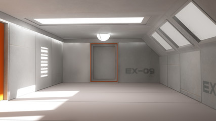 Futuristic interior corridor stage