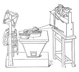 Primitive basin pulling the raw, vintage engraving.