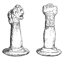 Ancient idols of the island of Cuba, vintage engraving.