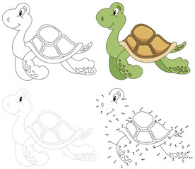 Cartoon turtle. Vector illustration. Dot to dot game for kids