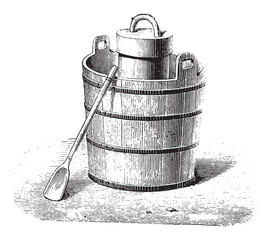 An ice cream maker and utensils, vintage engraving.