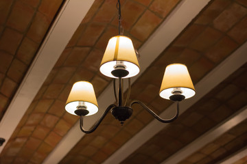 Ceiling lamps in the restaurant