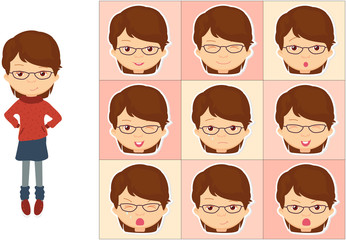 Girl with glasses emotions: joy, surprise, fear, sadness, sorrow