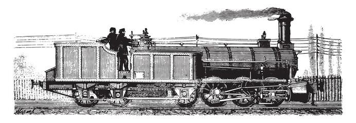 Wonders of the industry, The locomotive and tender, vintage engr