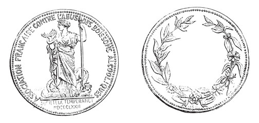 Medal of the French Society of temperance, vintage engraving.