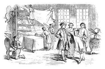 Shop secondhand clothes dealer, vintage engraving.