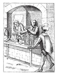 Clocks in the sixteenth century, vintage engraving.