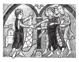 Dealer furrier in the thirteenth century, vintage engraving.