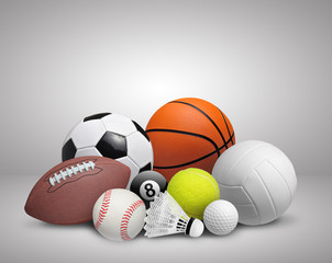 Set of sport balls on gray background