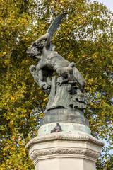 Fountain of Fallen Angel in Buen Retiro Park. Madrid. Spain.