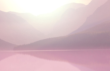 Canvas Prints Light pink Glacier Park
