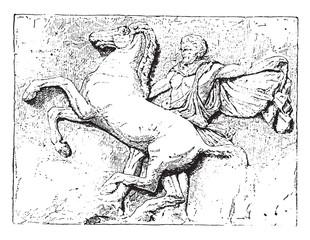Bas-relief, vintage engraving.