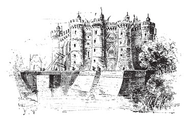 Bastille, vintage engraving.