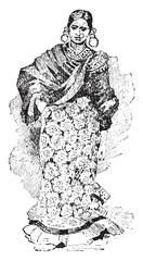Bayadere, vintage engraving.
