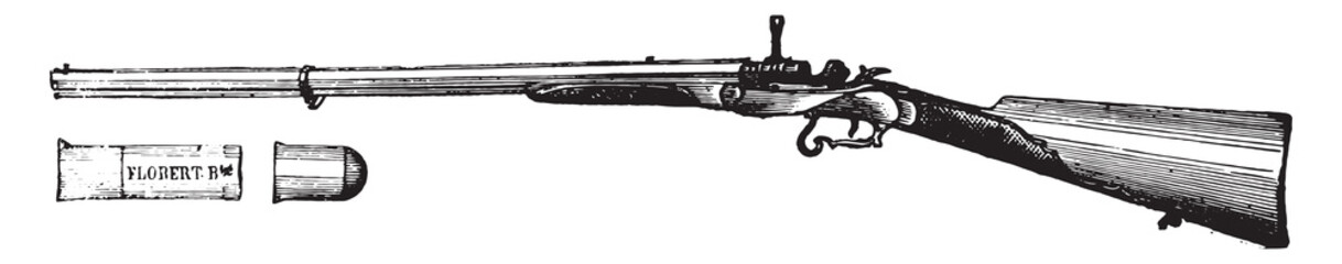 Rifle flobert movement Chassepot, vintage engraving.