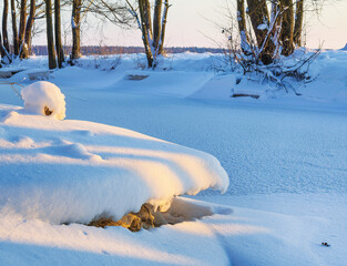 Wall Mural - Small river in winter. Sunset