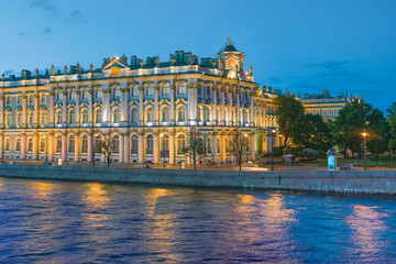 Winter Palace (Hermitage Museum). White Nights in St.-Petersburg, Russia