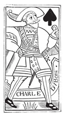 Jack of Spades, old French map Charles Dubois, the sixteenth cen