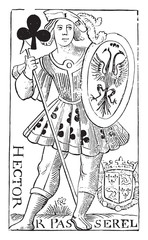 Jack of Clubs, old French map Charles Dubois, the sixteenth cent
